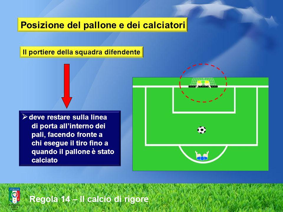 Posizione del pallone e dei calciatori Il portiere della squadra difendente deve restare sulla linea di porta allinterno dei pali, facendo fronte a chi esegue il tiro fino a quando il pallone è stato calciato Regola 14 – Il calcio di rigore