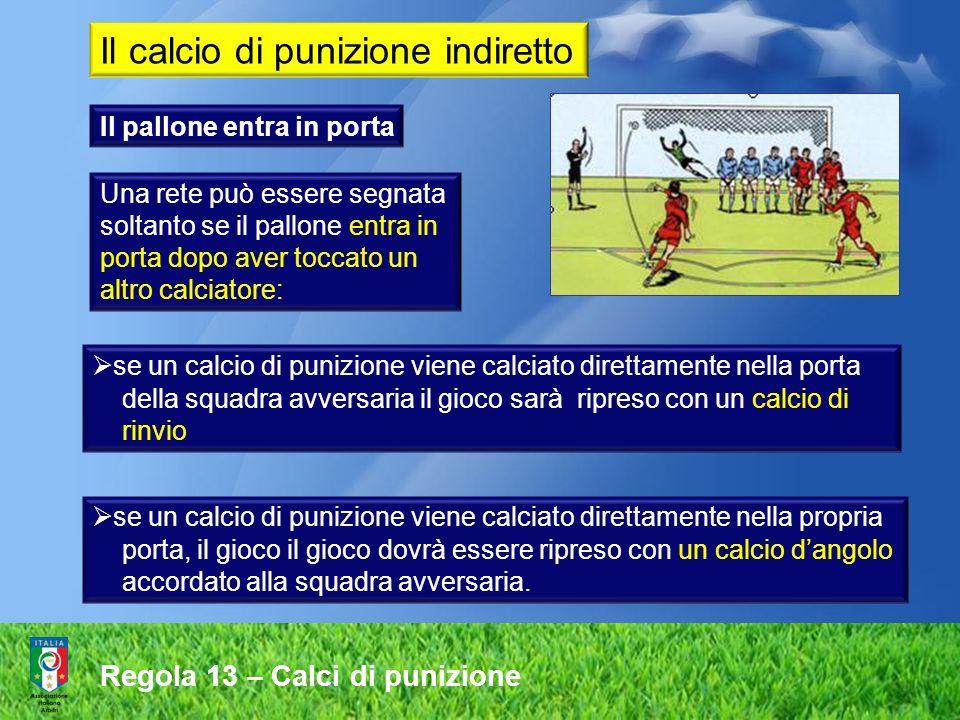 Regola 13 – Calci di punizione Sia per il calcio di punizione diretto che per quello indiretto, il pallone deve essere fermo nel momento in cui viene calciato e chi lo calcia non deve toccarlo di nuovo prima che sia stato toccato da un altro calciatore.