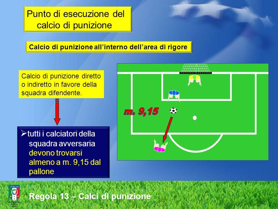 Regola 13 – Calci di punizione Calcio di punizione diretto o indiretto in favore della squadra difendente. tutti i calciatori della squadra avversaria