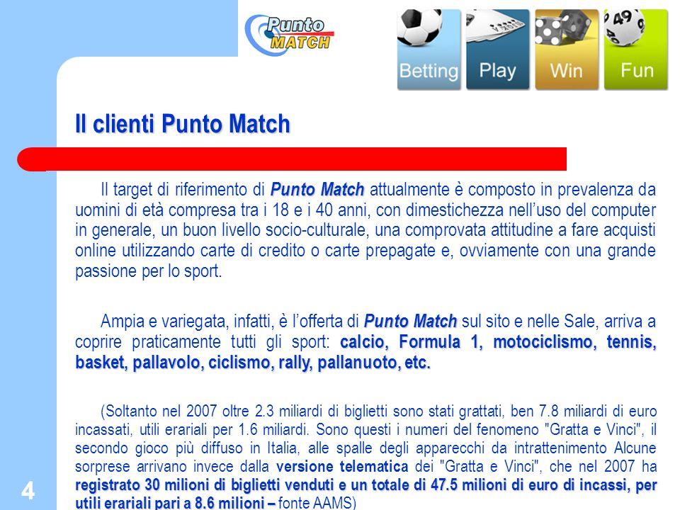 4 4 Il clienti Punto Match Punto Match Il target di riferimento di Punto Match attualmente è composto in prevalenza da uomini di età compresa tra i 18