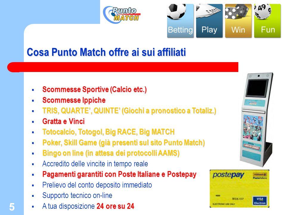 5 5 Cosa Punto Match offre ai sui affiliati Scommesse Sportive (Calcio etc.) Scommesse Sportive (Calcio etc.) Scommesse Ippiche Scommesse Ippiche TRIS