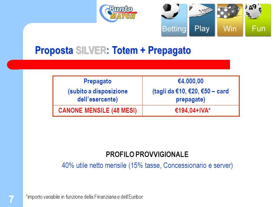7 7 Proposta SILVER: Totem + Prepagato PROFILO PROVVIGIONALE 40% utile netto mensile (15% tasse, Concessionario e server) *importo variabile in funzio