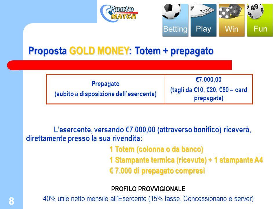 8 8 Proposta GOLD MONEY: Totem + prepagato Lesercente, versando 7.000,00 (attraverso bonifico) riceverà, direttamente presso la sua rivendita: 1 Totem