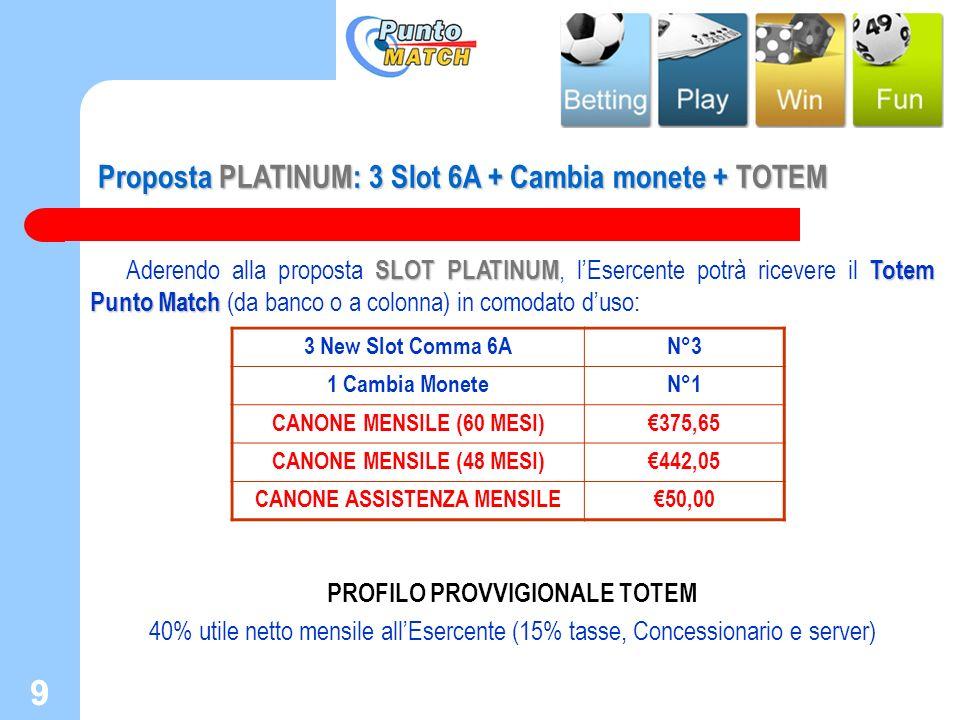 9 9 Proposta PLATINUM: 3 Slot 6A + Cambia monete + TOTEM SLOT PLATINUMTotem Punto Match Aderendo alla proposta SLOT PLATINUM, lEsercente potrà ricever