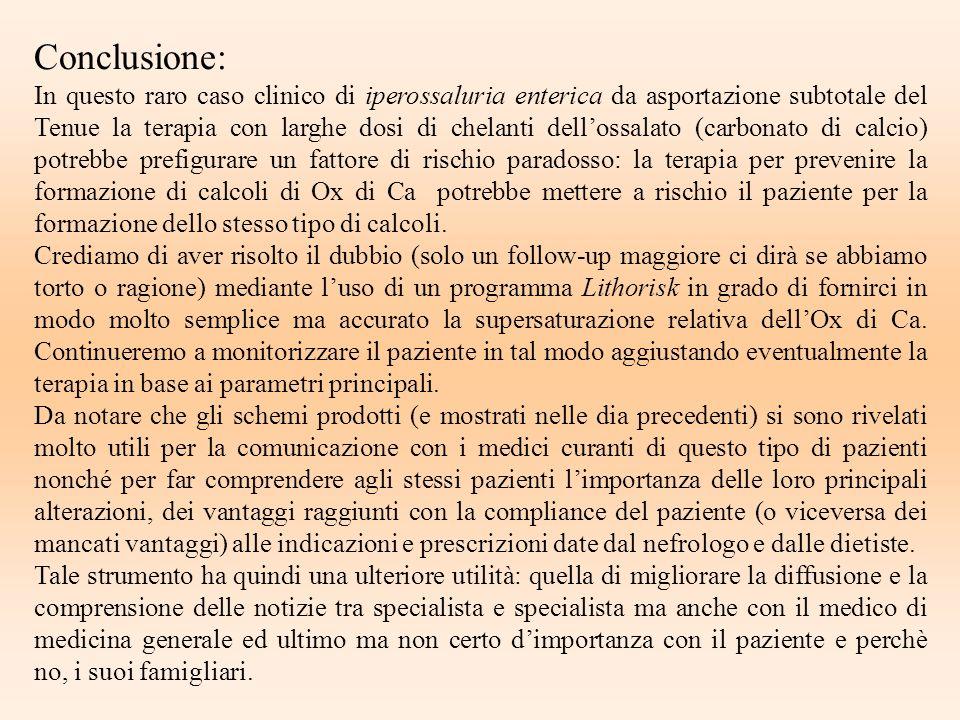 Conclusione: In questo raro caso clinico di iperossaluria enterica da asportazione subtotale del Tenue la terapia con larghe dosi di chelanti dellossa
