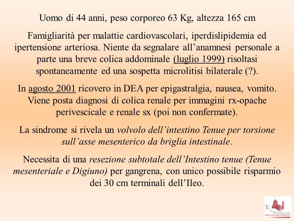 Uomo di 44 anni, peso corporeo 63 Kg, altezza 165 cm Famigliarità per malattie cardiovascolari, iperdislipidemia ed ipertensione arteriosa. Niente da