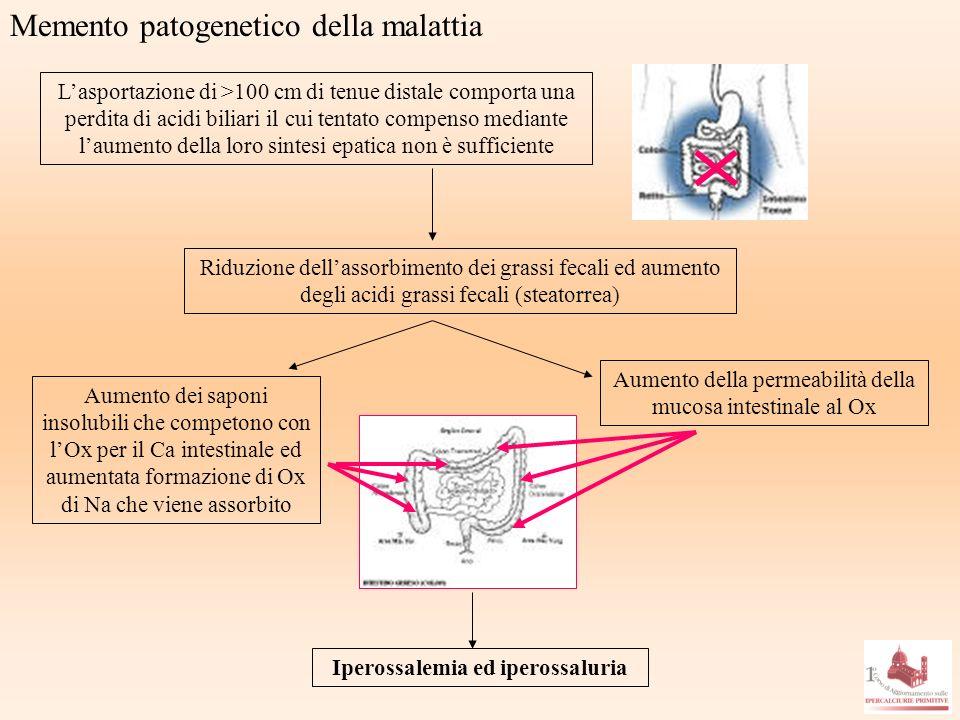 Memento patogenetico della malattia Lasportazione di >100 cm di tenue distale comporta una perdita di acidi biliari il cui tentato compenso mediante l
