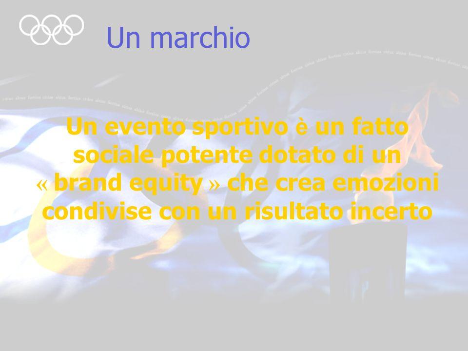 3 Un marchio Un evento sportivo è un fatto sociale potente dotato di un « brand equity » che crea emozioni condivise con un risultato incerto