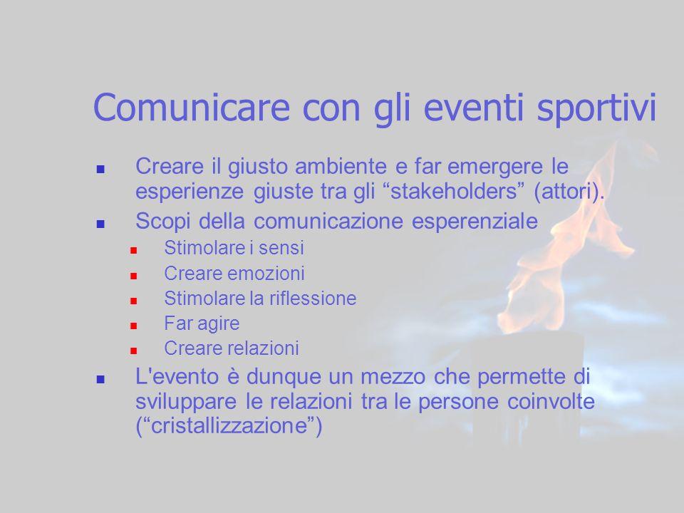 4 Comunicare con gli eventi sportivi Creare il giusto ambiente e far emergere le esperienze giuste tra gli stakeholders (attori). Scopi della comunica