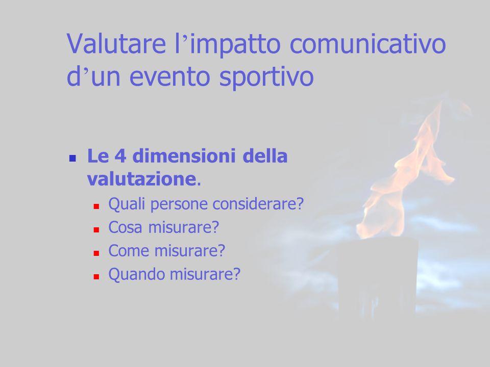 5 Valutare l impatto comunicativo d un evento sportivo Le 4 dimensioni della valutazione. Quali persone considerare? Cosa misurare? Come misurare? Qua