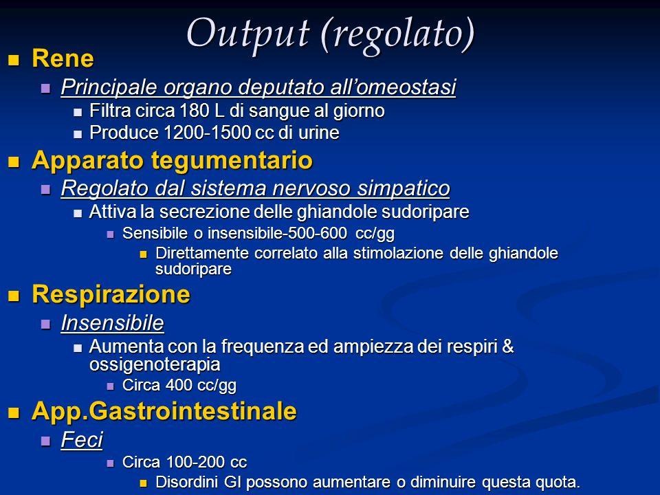 Output (regolato) Rene Rene Principale organo deputato allomeostasi Principale organo deputato allomeostasi Filtra circa 180 L di sangue al giorno Fil