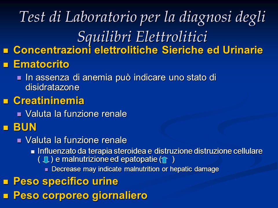 Test di Laboratorio per la diagnosi degli Squilibri Elettrolitici Concentrazioni elettrolitiche Sieriche ed Urinarie Concentrazioni elettrolitiche Sie