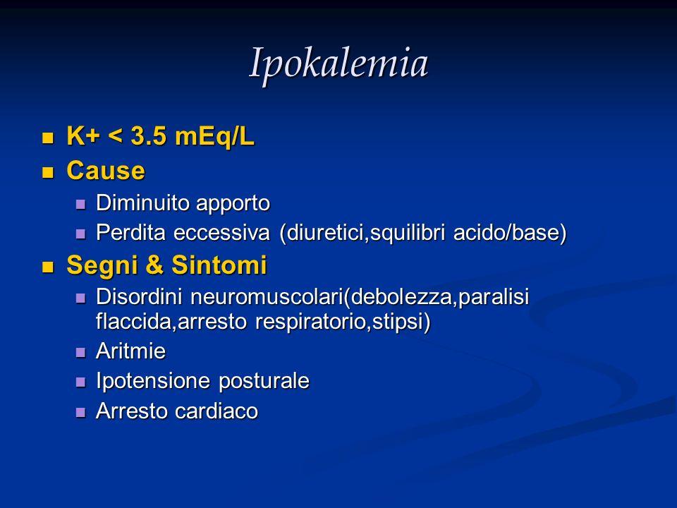 Ipokalemia K+ < 3.5 mEq/L K+ < 3.5 mEq/L Cause Cause Diminuito apporto Diminuito apporto Perdita eccessiva (diuretici,squilibri acido/base) Perdita ec