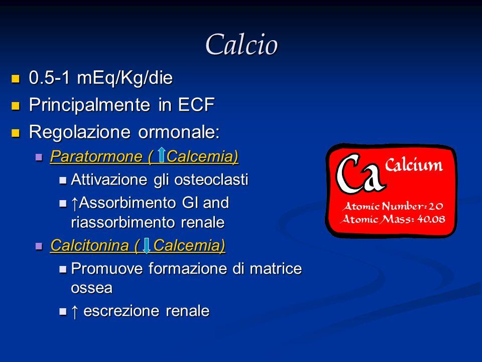 Calcio 0.5-1 mEq/Kg/die 0.5-1 mEq/Kg/die Principalmente in ECF Principalmente in ECF Regolazione ormonale: Regolazione ormonale: Paratormone ( Calcemi