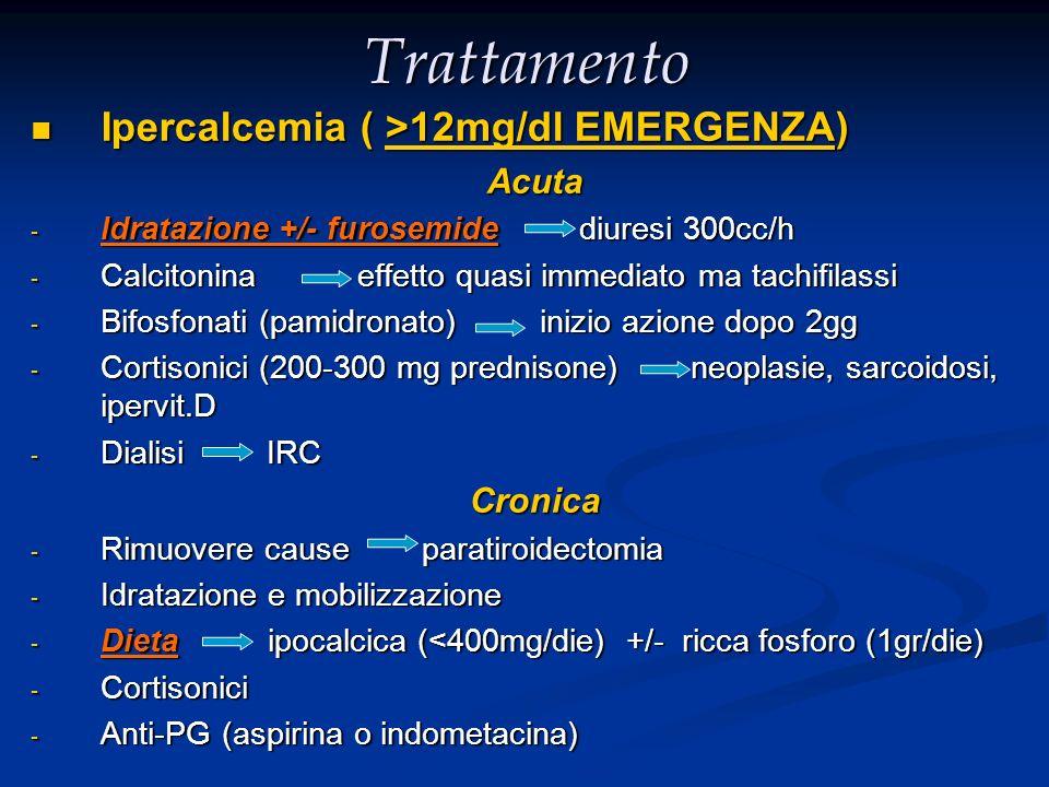 Trattamento Ipercalcemia ( >12mg/dl EMERGENZA) Ipercalcemia ( >12mg/dl EMERGENZA)Acuta - Idratazione +/- furosemide diuresi 300cc/h - Calcitonina effe