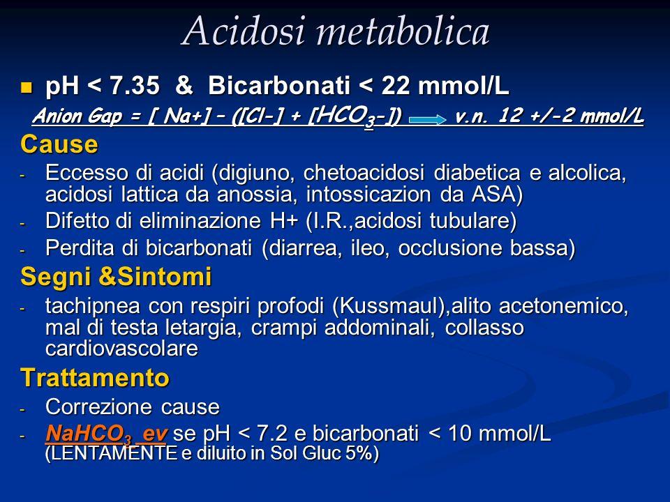 Acidosi metabolica pH < 7.35 & Bicarbonati < 22 mmol/L pH < 7.35 & Bicarbonati < 22 mmol/L Anion Gap = [ Na+] – ([Cl-] + [ HCO 3 -]) v.n. 12 +/-2 mmol