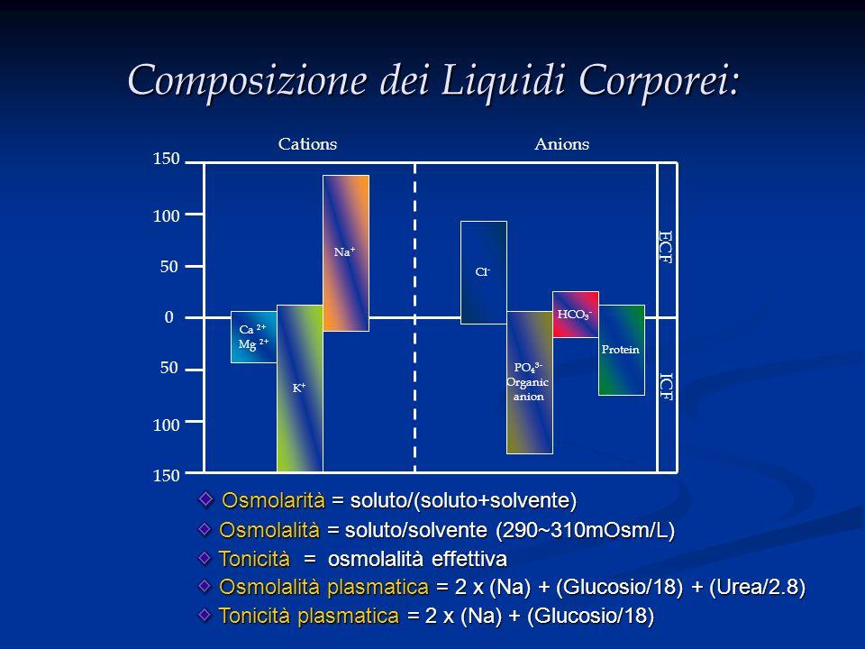 Composizione dei Liquidi Corporei: Ca 2+ Mg 2+ K+K+ Na + Cl - PO 4 3- Organic anion HCO 3 - Protein 0 50 100 150 100 150 CationsAnions ECF ICF Osmolar