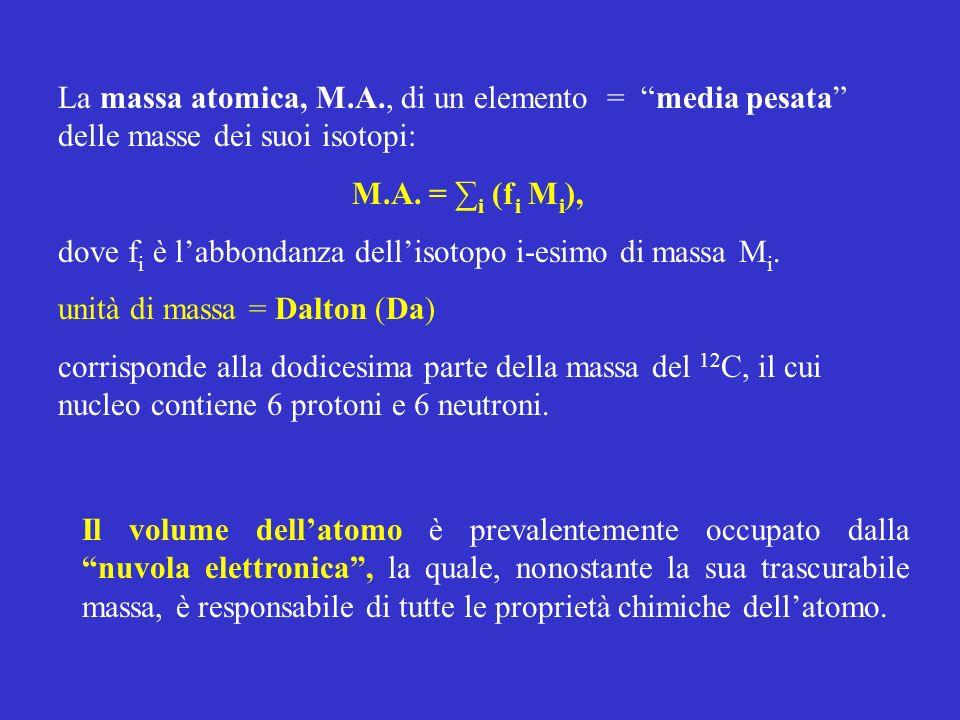 La massa atomica, M.A., di un elemento = media pesata delle masse dei suoi isotopi: M.A. = i (f i M i ), dove f i è labbondanza dellisotopo i-esimo di