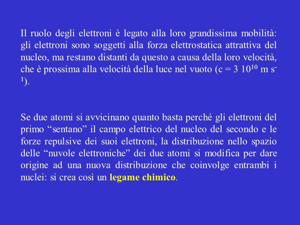 Il ruolo degli elettroni è legato alla loro grandissima mobilità: gli elettroni sono soggetti alla forza elettrostatica attrattiva del nucleo, ma rest