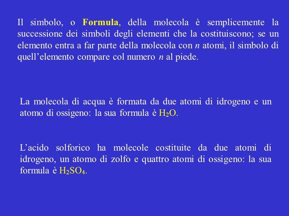 Il simbolo, o Formula, della molecola è semplicemente la successione dei simboli degli elementi che la costituiscono; se un elemento entra a far parte