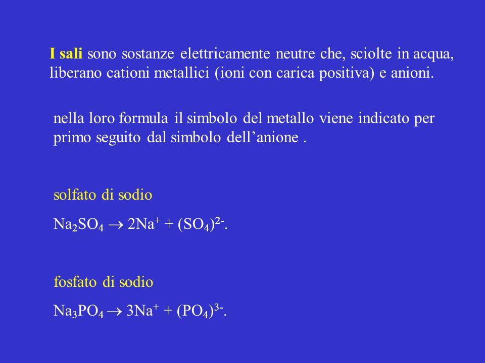 I sali sono sostanze elettricamente neutre che, sciolte in acqua, liberano cationi metallici (ioni con carica positiva) e anioni. nella loro formula i