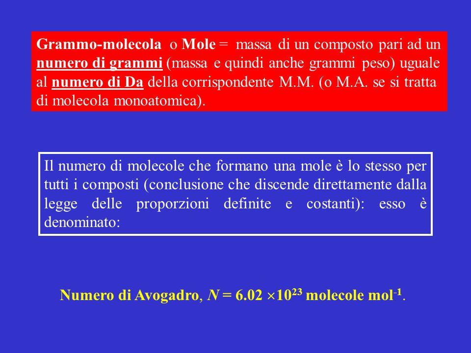 Grammo-molecola o Mole = massa di un composto pari ad un numero di grammi (massa e quindi anche grammi peso) uguale al numero di Da della corrisponden