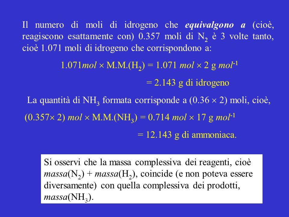 Il numero di moli di idrogeno che equivalgono a (cioè, reagiscono esattamente con) 0.357 moli di N 2 è 3 volte tanto, cioè 1.071 moli di idrogeno che