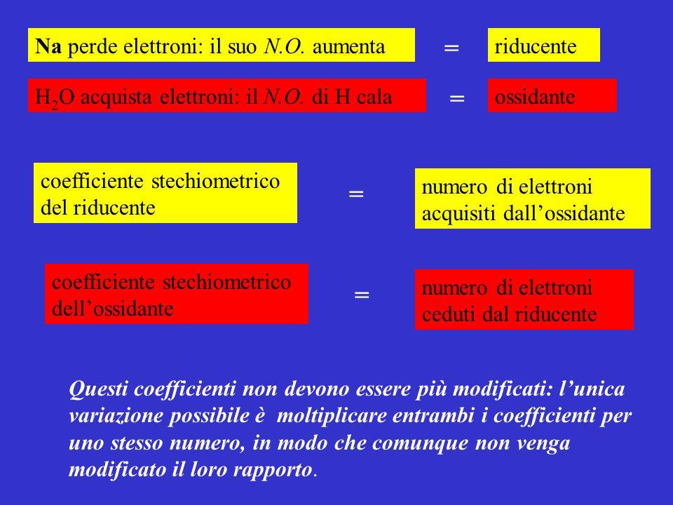 coefficiente stechiometrico del riducente numero di elettroni acquisiti dallossidante coefficiente stechiometrico dellossidante numero di elettroni ce