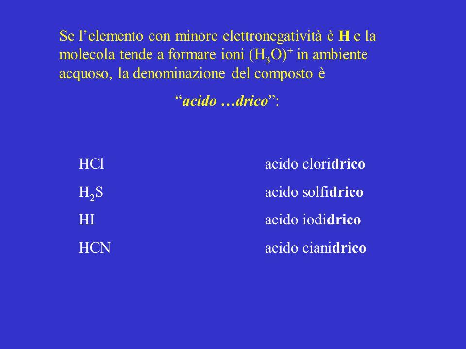 Se lelemento con minore elettronegatività è H e la molecola tende a formare ioni (H 3 O) + in ambiente acquoso, la denominazione del composto è acido