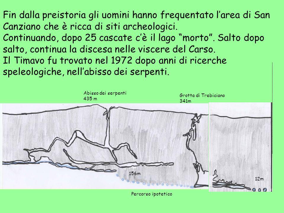 Fin dalla preistoria gli uomini hanno frequentato larea di San Canziano che è ricca di siti archeologici. Continuando, dopo 25 cascate cè il lago mort