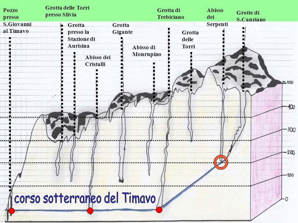 Pozzo presso S.Giovanni al Timavo Grotta delle Torri presso Slivia Grotta presso la Stazione di Aurisina Abisso dei Cristalli Grotta Gigante Abisso di