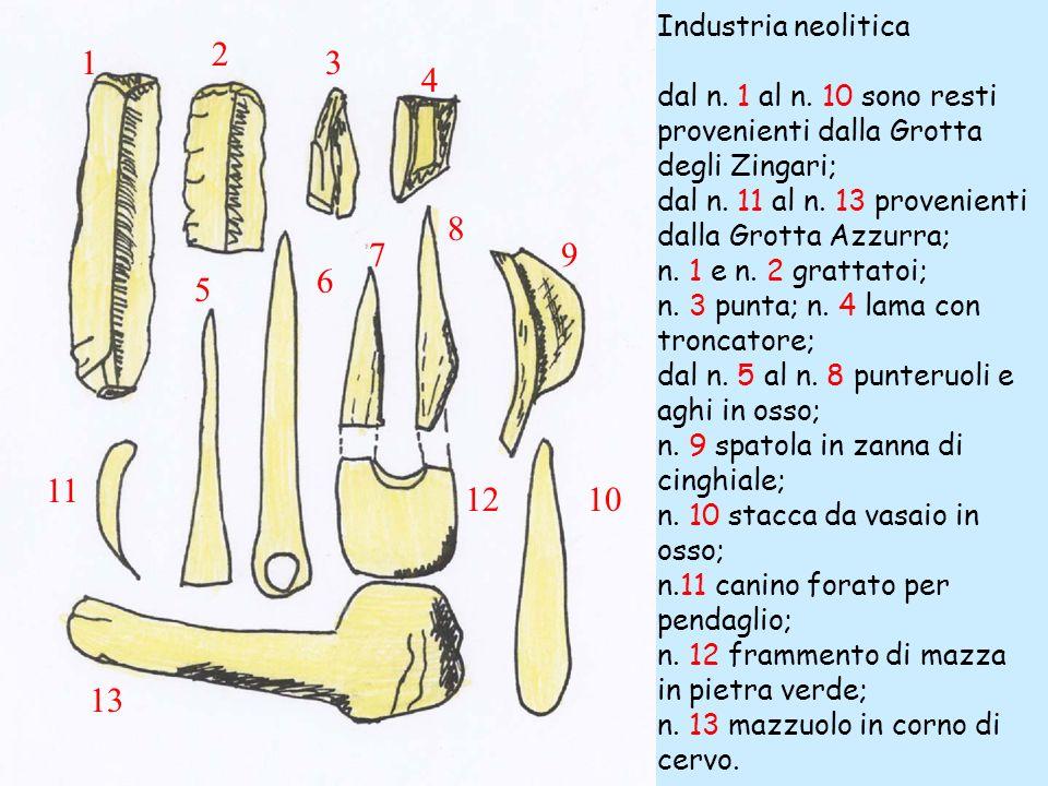 Industria neolitica dal n. 1 al n. 10 sono resti provenienti dalla Grotta degli Zingari; dal n. 11 al n. 13 provenienti dalla Grotta Azzurra; n. 1 e n