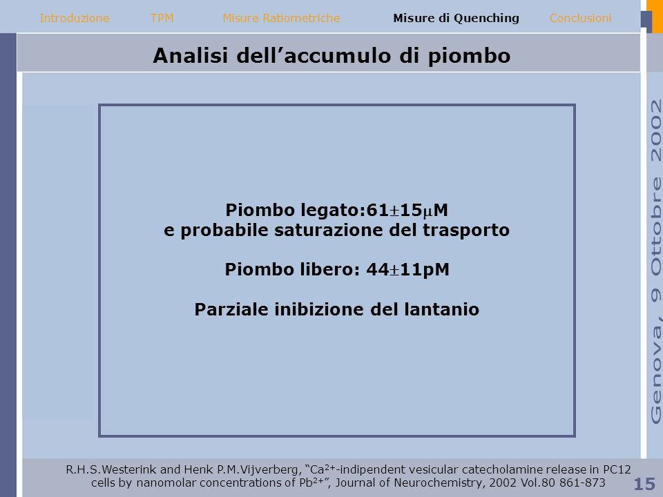 Analisi dellaccumulo di piombo 4411pM Piombo legato:6115M e probabile saturazione del trasporto Piombo libero: 4411pM Parziale inibizione del lantanio IntroduzioneMisure RatiometricheMisure di QuenchingConclusioniTPM 15 R.H.S.Westerink and Henk P.M.Vijverberg, Ca 2+ -indipendent vesicular catecholamine release in PC12 cells by nanomolar concentrations of Pb 2+, Journal of Neurochemistry, 2002 Vol.80 861-873