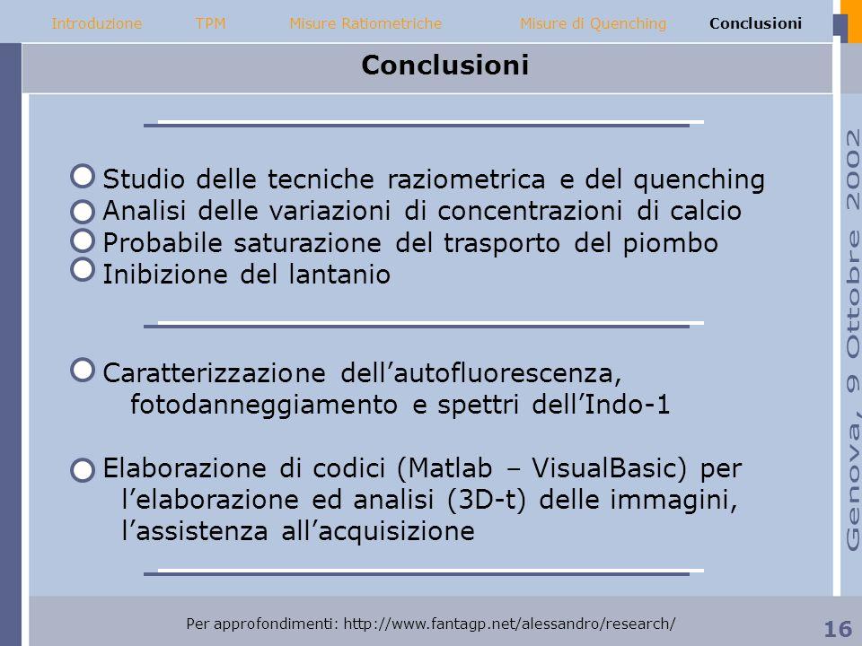 Conclusioni IntroduzioneMisure RatiometricheMisure di QuenchingConclusioniTPM Caratterizzazione dellautofluorescenza, fotodanneggiamento e spettri del