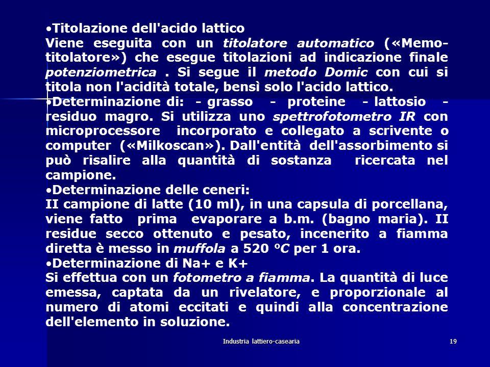 Industria lattiero-casearia20 Determinazione dell indice crioscopico: Viene effettuata con un crioscopio a termistori.