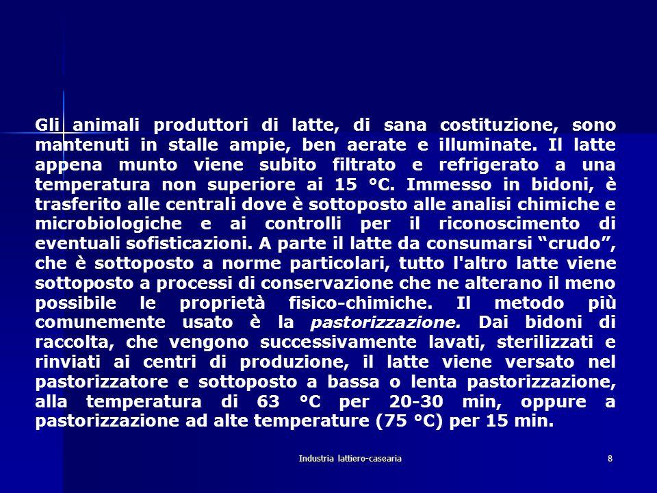 Industria lattiero-casearia8 III Produzione, raccolta, controllo e conservazione del latte. Gli animali produttori di latte, di sana costituzione, son
