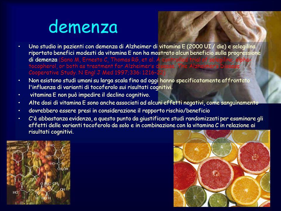 demenza Uno studio in pazienti con demenza di Alzheimer di vitamina E (2000 UI / die) e selegilina riportato benefici modesti da vitamina E non ha mos