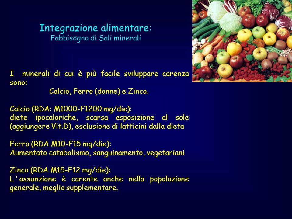 I minerali di cui è più facile sviluppare carenza sono: Calcio, Ferro (donne) e Zinco. Calcio (RDA: M1000-F1200 mg/die): diete ipocaloriche, scarsa es