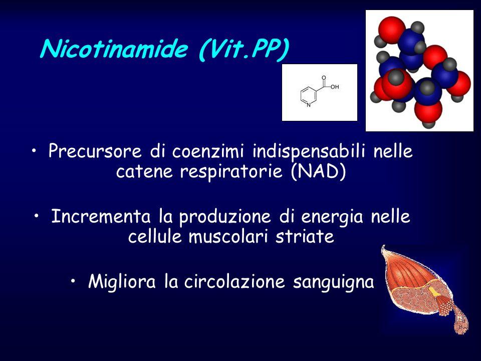Nicotinamide (Vit.PP) Precursore di coenzimi indispensabili nelle catene respiratorie (NAD) Incrementa la produzione di energia nelle cellule muscolar