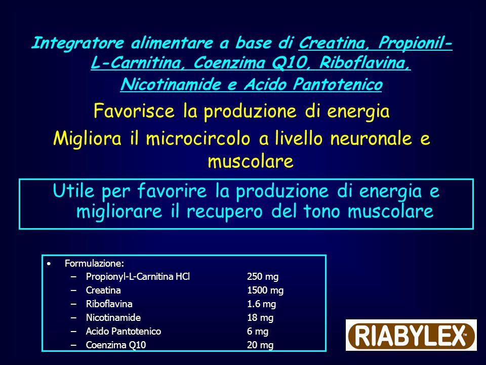 Integratore alimentare a base di Creatina, Propionil- L-Carnitina, Coenzima Q10, Riboflavina, Nicotinamide e Acido Pantotenico Favorisce la produzione