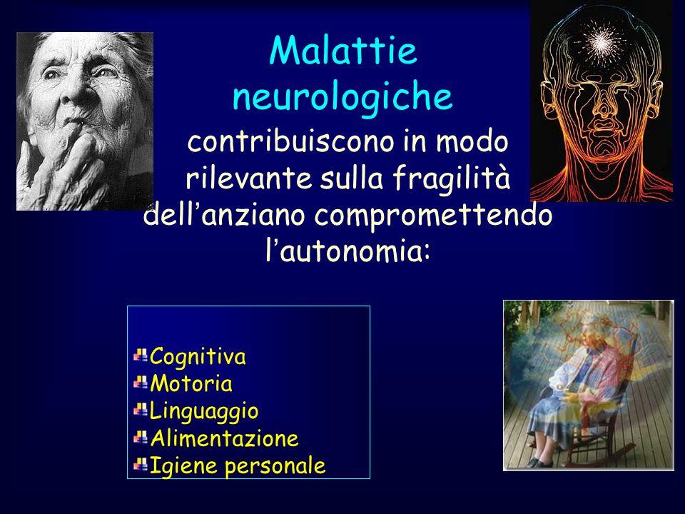 Malattie neurologiche Cognitiva Motoria Linguaggio Alimentazione Igiene personale contribuiscono in modo rilevante sulla fragilità dellanziano comprom