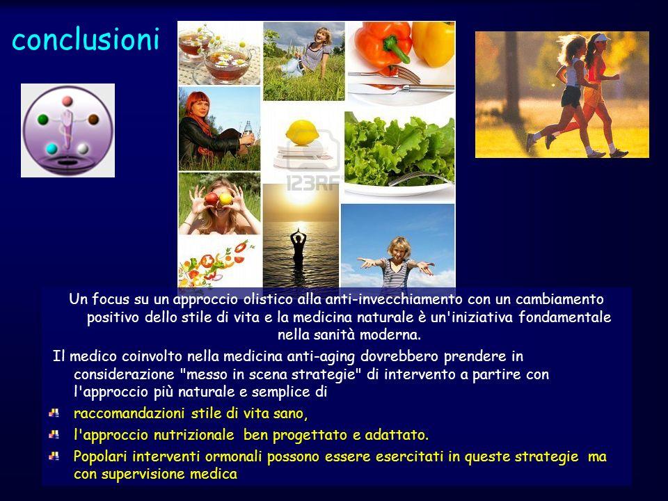 conclusioni Un focus su un approccio olistico alla anti-invecchiamento con un cambiamento positivo dello stile di vita e la medicina naturale è un'ini