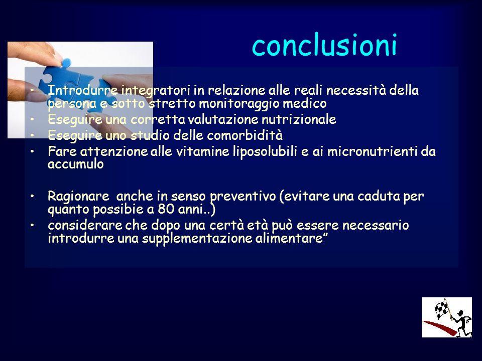 conclusioni Introdurre integratori in relazione alle reali necessità della persona e sotto stretto monitoraggio medico Eseguire una corretta valutazio