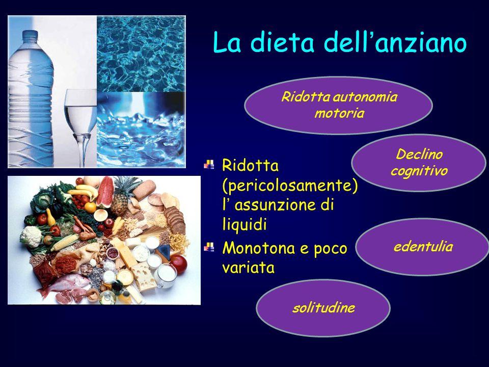 La dieta dellanziano Ridotta (pericolosamente) l assunzione di liquidi Monotona e poco variata solitudine edentulia Ridotta autonomia motoria Declino
