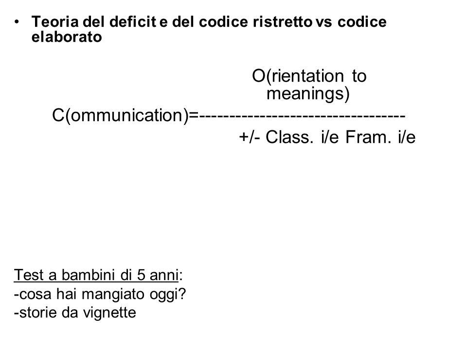 Teoria del deficit e del codice ristretto vs codice elaborato O(rientation to meanings) C(ommunication)=---------------------------------- +/- Class.