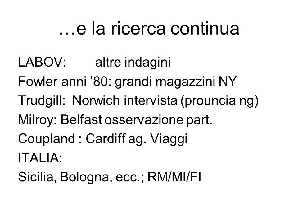 …e la ricerca continua LABOV: altre indagini Fowler anni 80: grandi magazzini NY Trudgill: Norwich intervista (prouncia ng) Milroy: Belfast osservazio