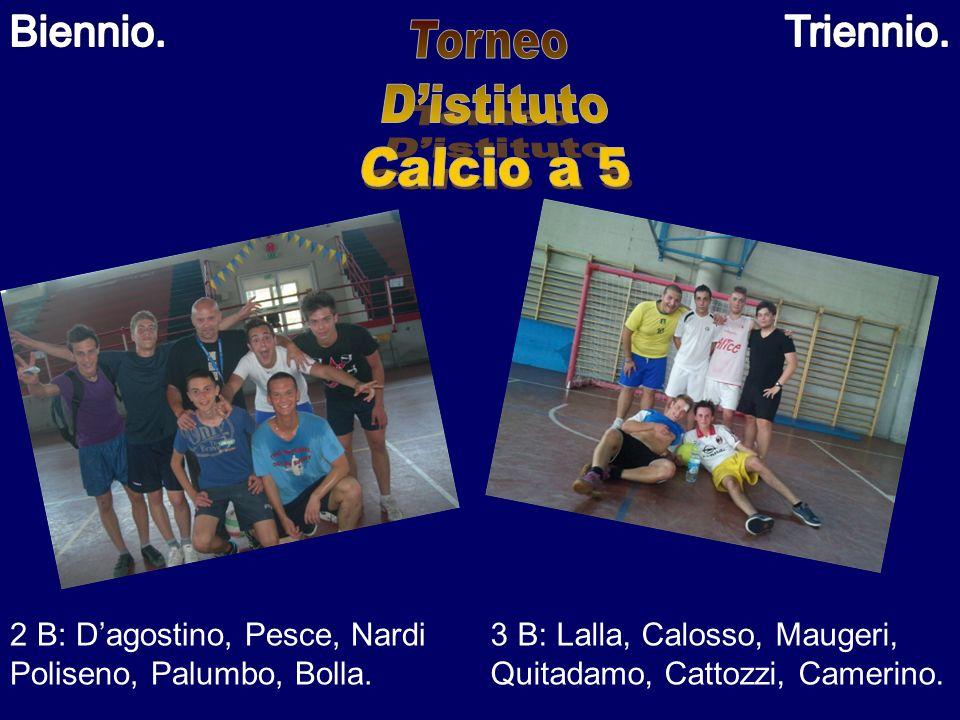 2 B: Dagostino, Pesce, Nardi Poliseno, Palumbo, Bolla. 3 B: Lalla, Calosso, Maugeri, Quitadamo, Cattozzi, Camerino.