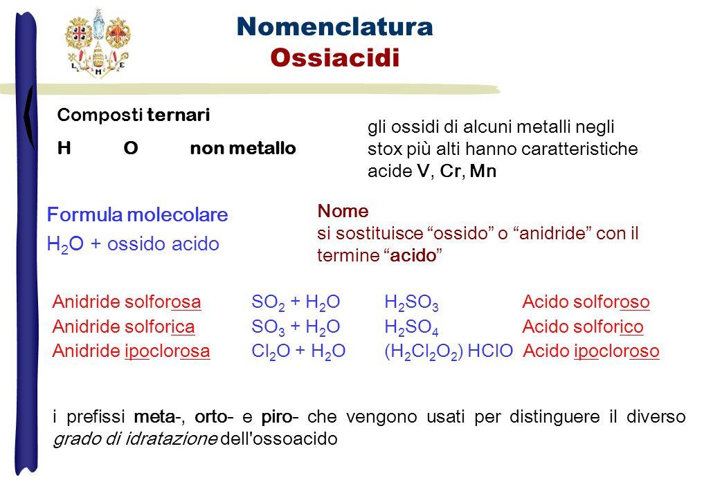 Nomenclatura Ossiacidi Composti ternari H O non metallo gli ossidi di alcuni metalli negli stox più alti hanno caratteristiche acide V, Cr, Mn Formula