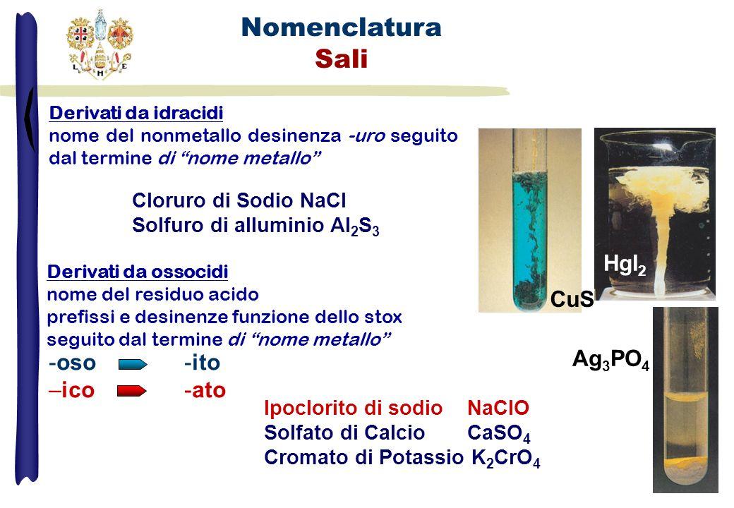 Nomenclatura Sali Ipoclorito di sodioNaClO Solfato di Calcio CaSO 4 Cromato di Potassio K 2 CrO 4 CuS HgI 2 Ag 3 PO 4 -oso -ito –ico -ato Derivati da