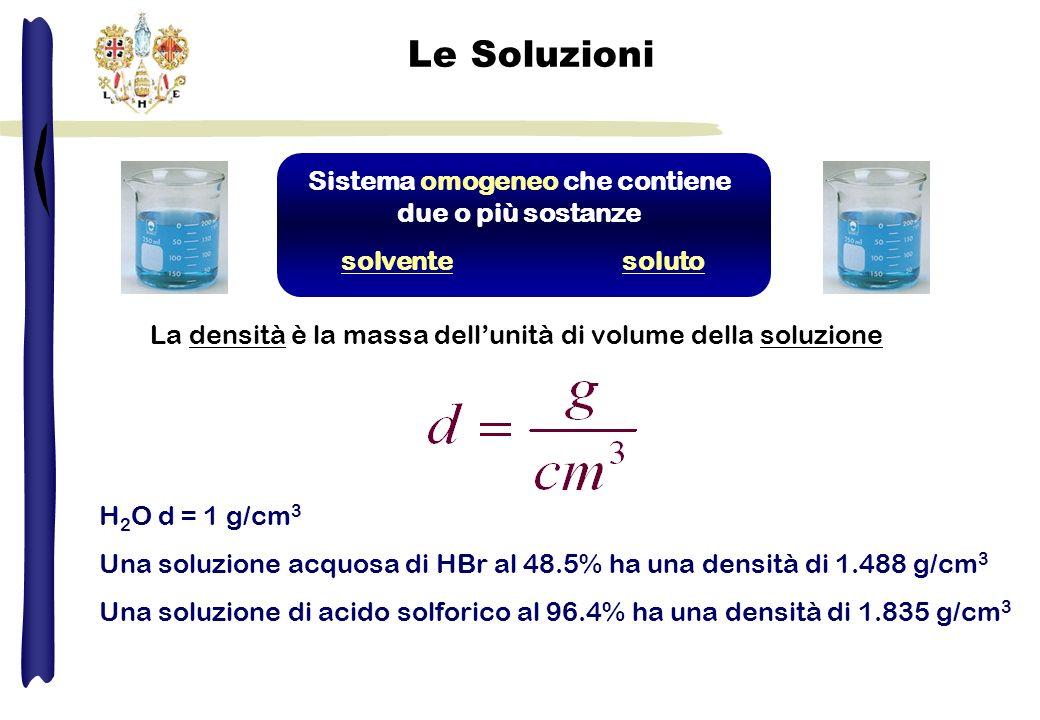 Le Soluzioni Sistema omogeneo che contiene due o più sostanze solventesoluto La densità è la massa dellunità di volume della soluzione H 2 O d = 1 g/c